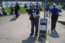 Bernie selling the programmes on the last day at Withdean 30/4/11